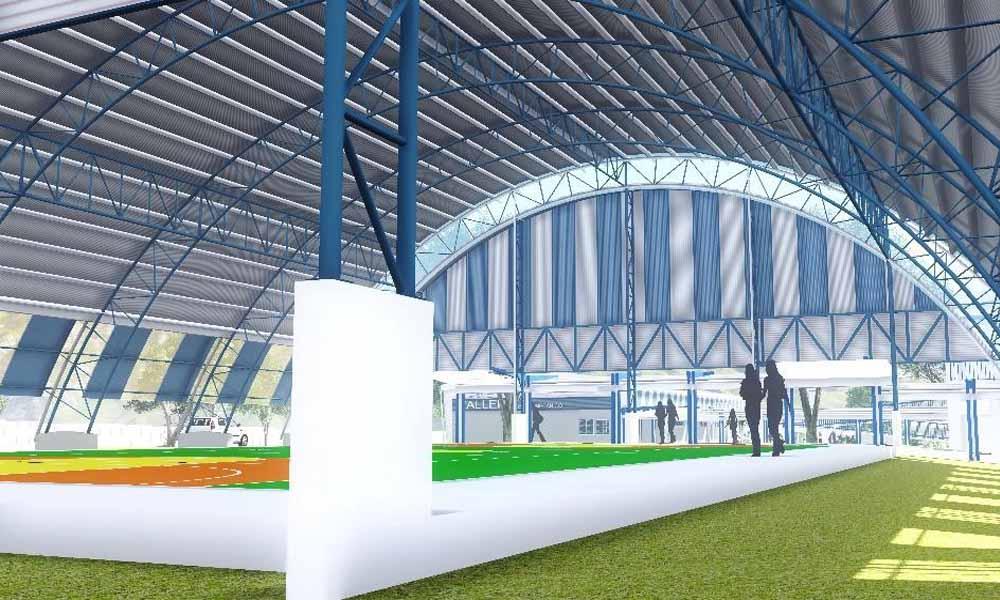 El nuevo gimnasio de Hojancha será similar a este boceto, y se espera qwuer la construcción se complete el próximo año.