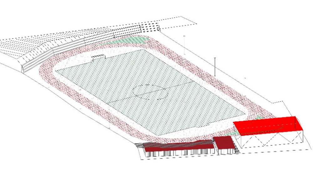 Esta es la maqueta de la nueva pista de atletismo de altura que se construirá en Cot de Oreamuno, en la provincia de Cartago.