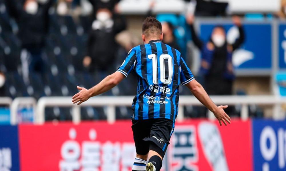 Elías Aguilar sigue aliado con el gol en Corea del Sur. Foto: coretsía, Incheón United.