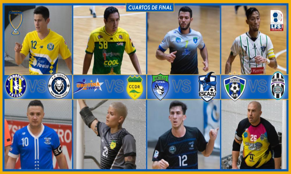 Ocho equipos siguen en la uta hacia el título de Copa del Futsal. Para el lunes, cuatro habrán quedado fuera.