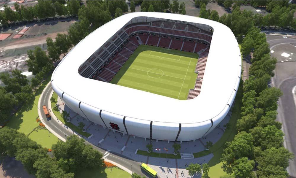 La propuesta para el nuevo estadio de Alajuelense establece que así se verían las nuevas instalaciones cuando estén totalmente terminadas.