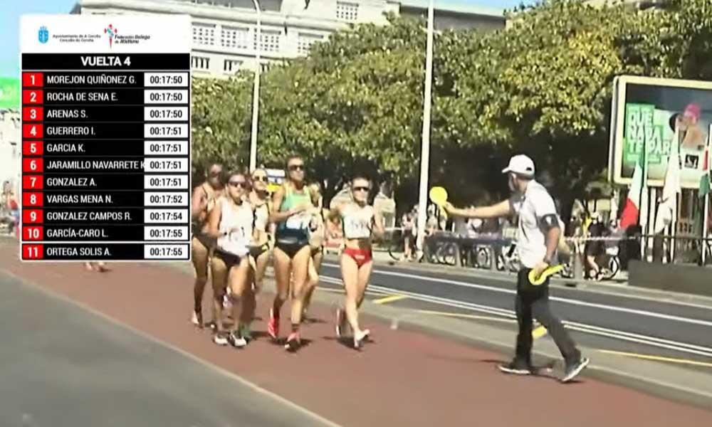 Noelia Vargas siempre se mantuvo en el lote puntero en la competencia desarrollada en La Coruña, España. Foto: captura de pantalla.
